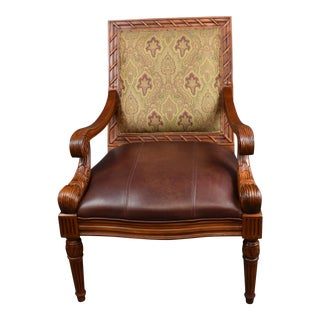 Vintage Fairfield Chair Company Carved Brown Leather Accent Chair For Sale