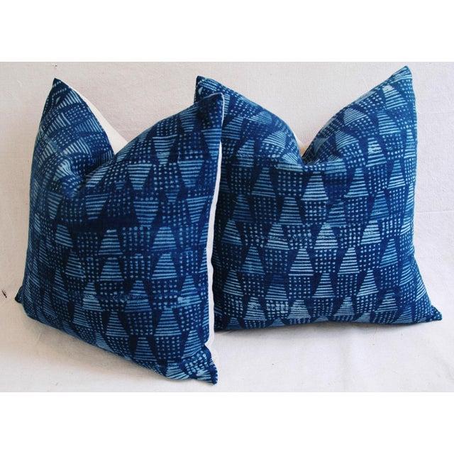 Boho Chic Indigo African Mali Mud Cloth Tribal Pillows - a Pair - Image 7 of 11