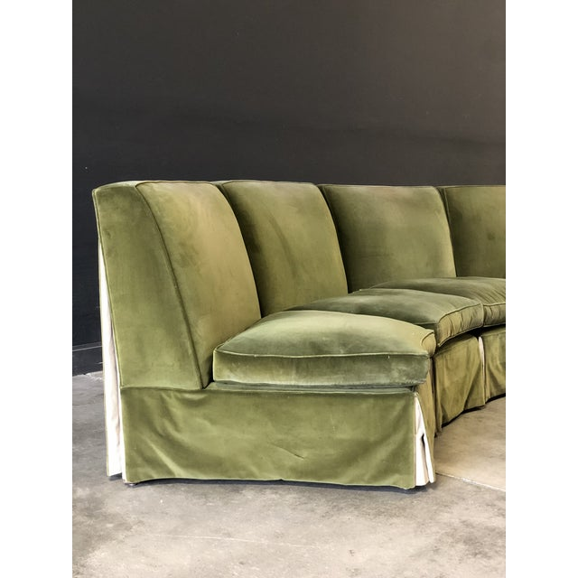 1970s Vintage Velvet Green Sectional For Sale - Image 5 of 10
