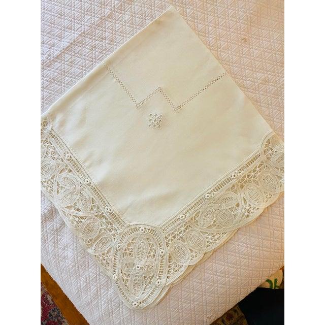 Textile Antique Battenberg Tape Lace Tablecloth, 8 Placemats, Runner and 8 Napkins, 4 Cocktail Napkins- 22 Piece Set For Sale - Image 7 of 8