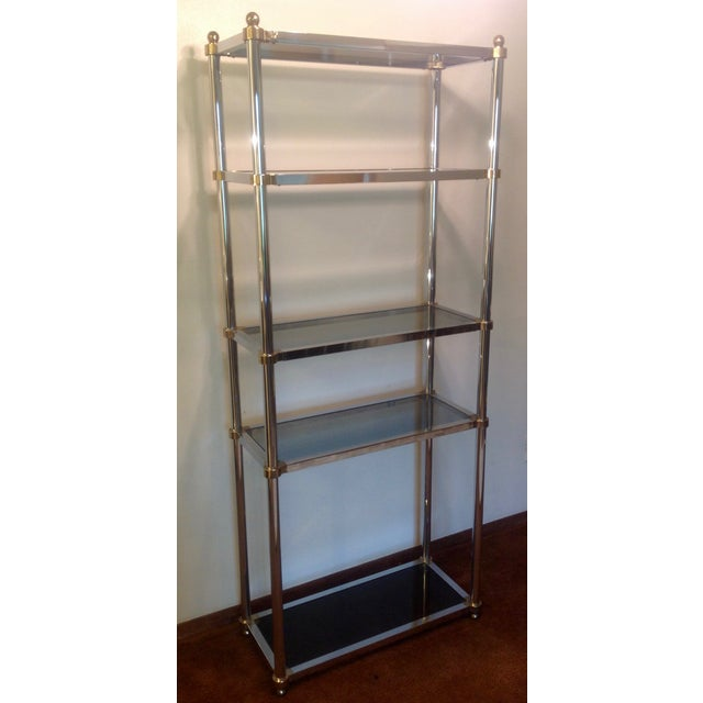 Maison Jansen Etagere, Chrome & Brass Smoked Glass For Sale In Chicago - Image 6 of 10