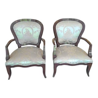 Ornately Upholstered Silk Arm Chairs- A Pair For Sale