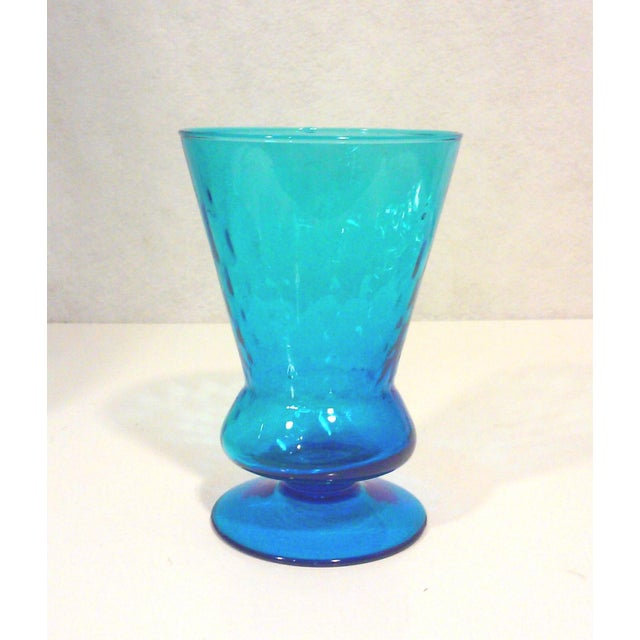 Italian Azure Blue Footed Vases - Pair - Image 5 of 8