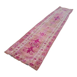 1970s Pale Pink and Fuchsia Coloured Decorative Vintage Long Kurdish Runner With Ornate Borders, Modern Traditional Style Hallway Gallery Carpet For Sale