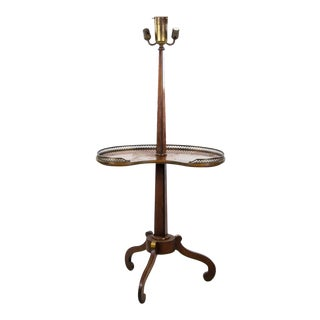 Antique English Wood and Brass 3 Light Table Floor Lamp For Sale