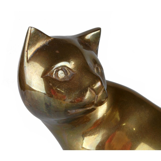Handcrafted Solid Brass Cat For Sale - Image 4 of 6