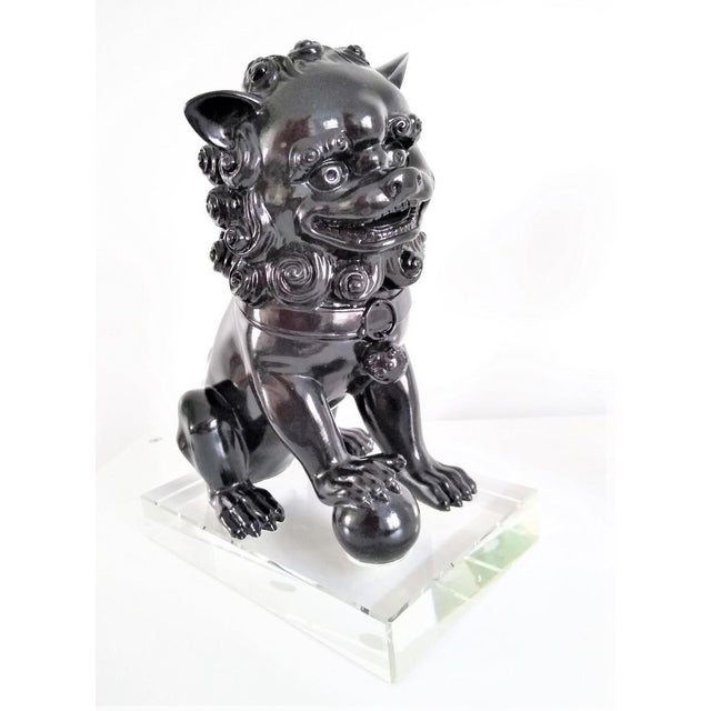 Ceramic Vintage Foo Dogs on Lucite Bases - Pair For Sale - Image 10 of 13