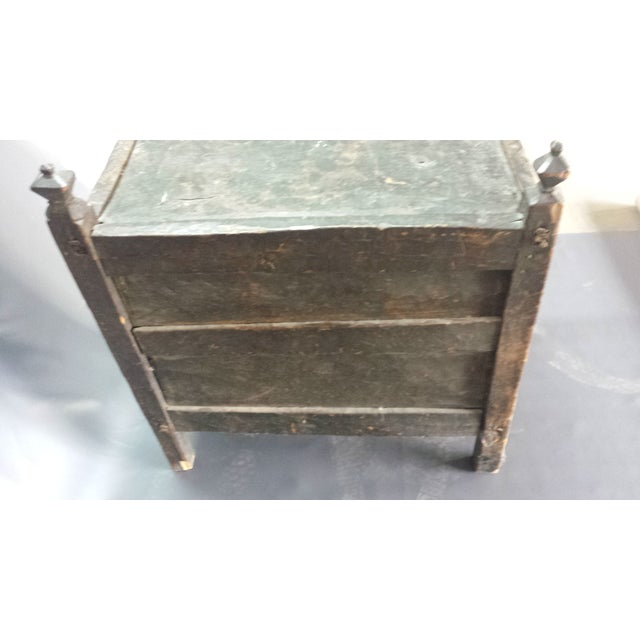 Afghanistan Dowry Dark Ebony Caved Wedding Chest For Sale - Image 4 of 10