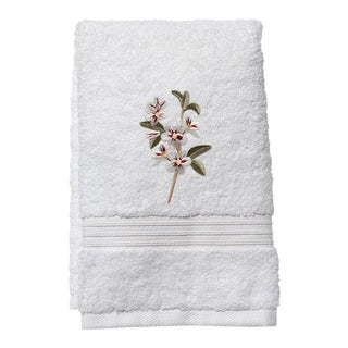 Apple Blossom Guest Towel White Terry, Embroidered For Sale