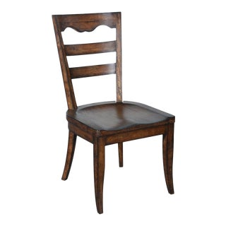 Portico Carved Wood Saddle Seat Side Dining Chair For Sale
