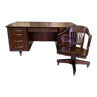 1940s Art Deco Executive Desk and Chair - 2 Pieces For Sale
