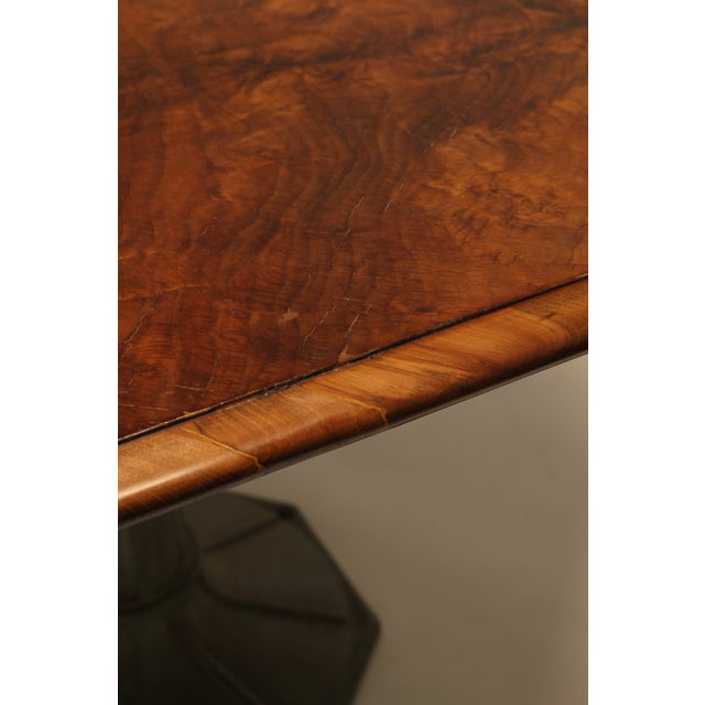 Metal Antique Hexagonal Crotch Mahogany Table With Fluted Metal Base For Sale - Image 7 of 8