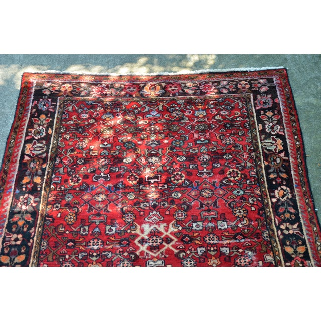 "Cotton Persian Distressed Floral Carpet - 9' 4"" X 4' 8"" For Sale - Image 7 of 12"