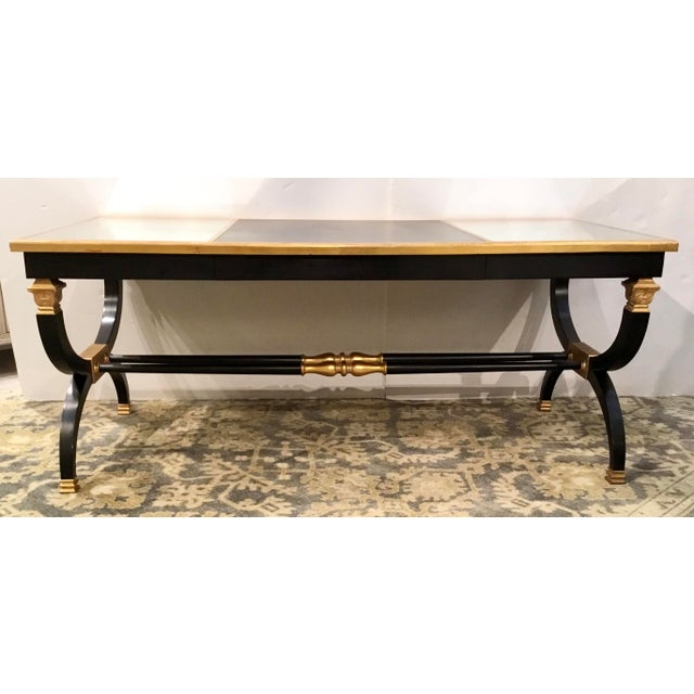 Transitional Lillian August for Hickory White Black and Gold Ziecel Writing Desk For Sale - Image 11 of 11