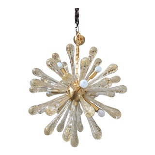 Chandelier Murano Glass Sputnik Metal Frame Gold Brushed For Sale