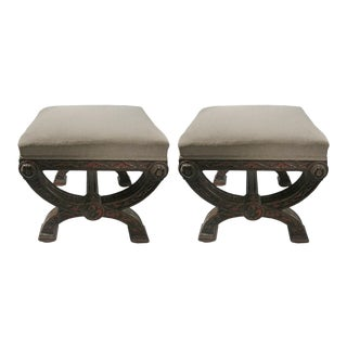 Moroccan Carved Wood Ottomans - a Pair For Sale