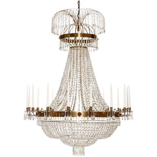 Empire 16 Arm Polisheed Brass Octagon and Drop Crystals Chandelier For Sale