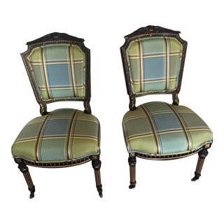 Antique Empire Style Side Accent Chairs - a Pair