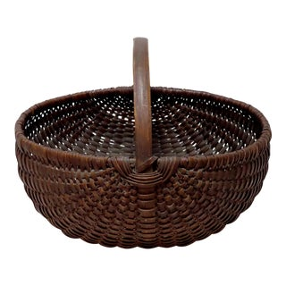 Antique New England Hand Woven Ash Splint Basket For Sale