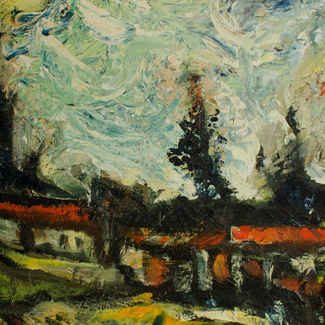 """Green Mid 20th Century """"Sunday Stroll Home"""" Landscape Oil Painting, Framed For Sale - Image 8 of 13"""
