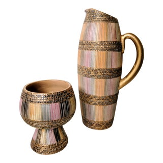 Set of 2- Italian Pottery Pitcher and Chalice Set For Sale