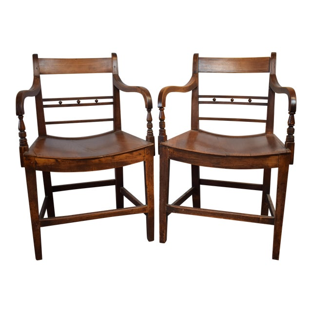Classic 19th Century English Regency Library Armchairs From an Equestrian Estate - a Pair For Sale