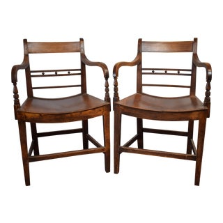 English Regency Library Armchairs - a Pair