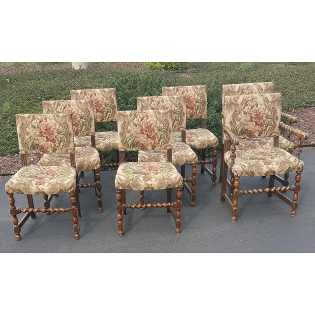 1940s Vintage Upholstered Dining Chairs- Set of 8 For Sale - Image 13 of 13