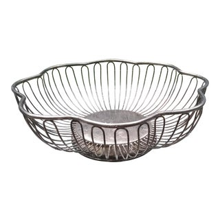 Mid- Century Silver Plated Wire Bread Basket For Sale