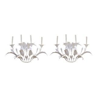 Art Nouveau Style Metal Floral Candelabra Sconces in White - a Pair For Sale