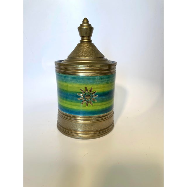 Mid 20th Century Rosenthal Netter Bitossi Blue and Green Jar For Sale - Image 5 of 10