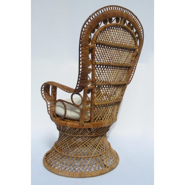 Final Markdown: C1970s Vintage Bohemian Eclectic Boho Chic Rattan Raw Wicker Peacock Chair For Sale - Image 4 of 13