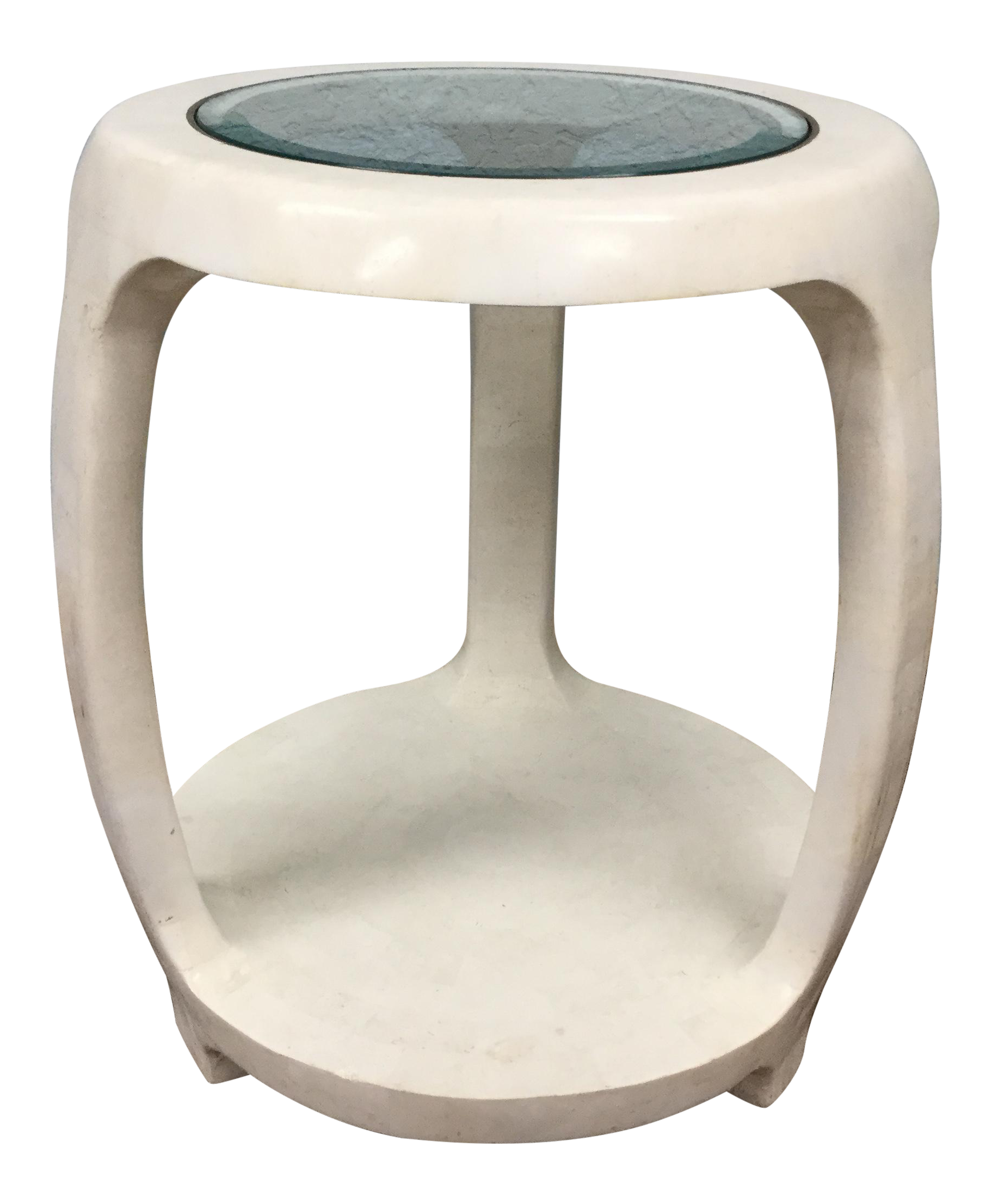 Maitland Smith Tasselated Stone Side Table For Sale