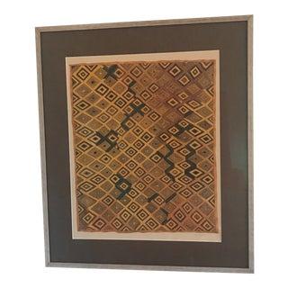 Vintage Framed Hand-Painted African Kesa Velvet Textile Motif Gouache For Sale
