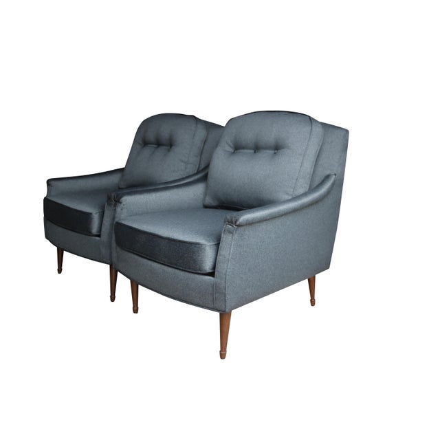 Grey Mid-Century Modern Armchairs - Pair - Image 2 of 6