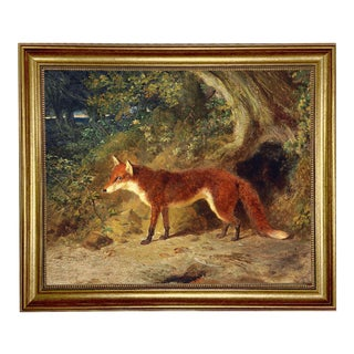 "Fox and Feathers Framed Oil Painting Print on Canvas in Antiqued Gold Frame 16"" X 20"" Framed to 19-1/2"" X 23-1/2"" For Sale"