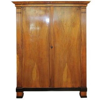 Period Biedermeier Cherry and Ebonized Armoire For Sale