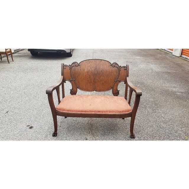 Vintage Mid Century Brown Wood Settee For Sale - Image 11 of 11