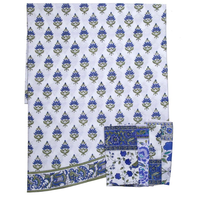 Contemporary Blossom Round Tablecloth - Blue For Sale - Image 3 of 4