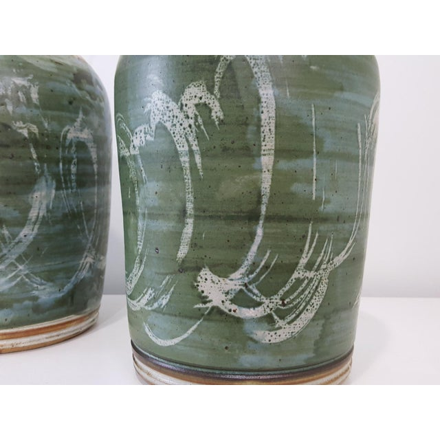 Vintage Green Studio Pottery Lamps - A Pair - Image 5 of 10
