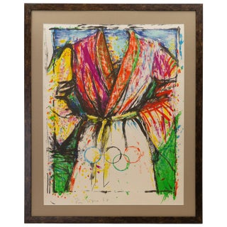 """Jim Dine Pencil Signed """"Olympic Robe"""" Lithograph for 1988 Olympic Games For Sale"""