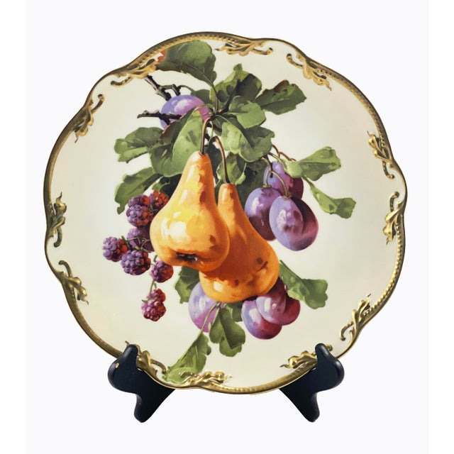 Three Crowns Antique German Fruit Three Crown China Gold Rim Plate For Sale - Image 4 of 4