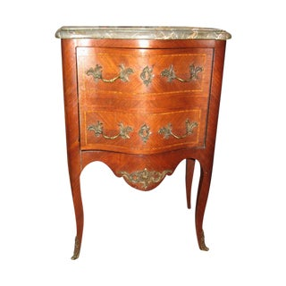 French Louis XV Marble Top Walnut Side Table For Sale
