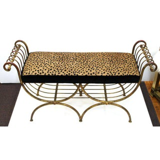 Mid Century Modern Italian Bench in Gilt Iron & Faux Leopard Leather Seat Preview