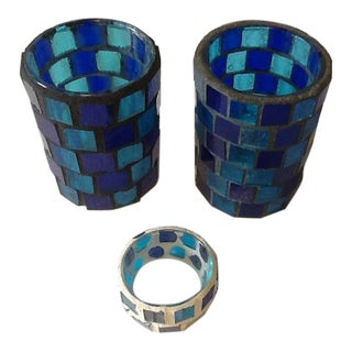 Stained Glass Blue Mosaic Candle Holder Trio For Sale