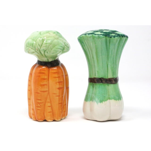Vintage Ceramic Carrots and Leeks Salt & Pepper Shakers - Set of 2 For Sale - Image 4 of 9