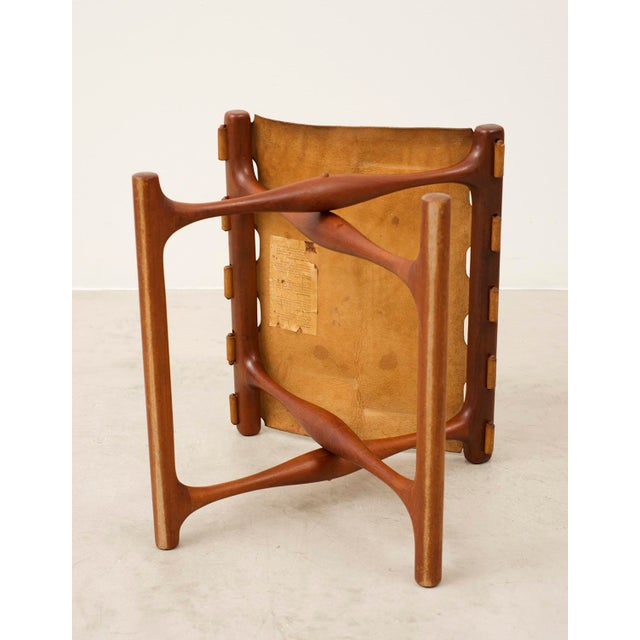 Poul Hundevad Pair of Teak and Leather Gold Hill Stools by Poul Hundevad, Denmark, 1950s For Sale - Image 4 of 13