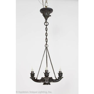 Restored Bronze Three Arm Whale Oil Chandelier Preview