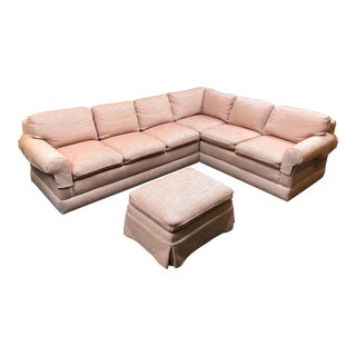 Custom Sectional and Ottoman, by Kroll Furniture For Sale