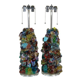 Glass Rock Lamp Sculptures in Blue & Green For Sale